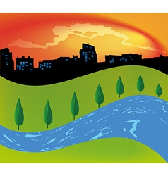Green landscape with trees river vector image vector image