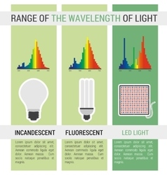 Infographic different lamps with wavelength vector image vector image
