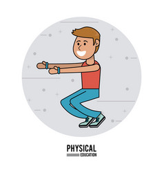 physical education - boy exercise squats sport vector image vector image