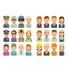 Set icon character cook builder business and vector