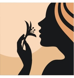 Woman with flower in hand vector image