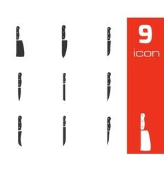 black kitchen knife icons set vector image