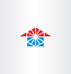 blue red house icon triangle logo vector image