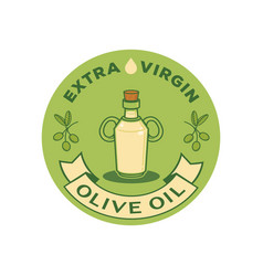 extra virgin olive oil logo with glass bottle vector image vector image