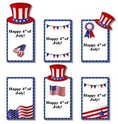 July 4 patriotic card set vector image vector image