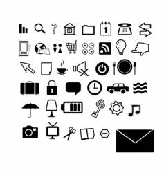 set of 40 black and white icons vector image vector image