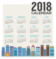 2018 cityscape flat design calendar vector