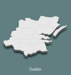 3d isometric map of dublin is a city of ireland vector