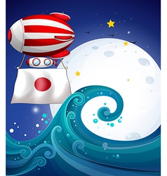 A floating balloon with the flag of Japan vector image
