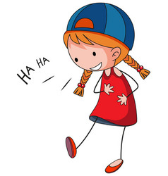 A happy girls laughing doodle cartoon character vector