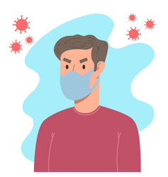 a man with medical breathing mask in flat style vector image