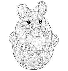 adult coloring bookpage a cute hamster in a cup vector image