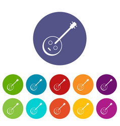 african guitar icons set color vector image