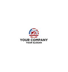 american circle house logo design vector image