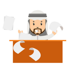 arab is angry at work on white background vector image