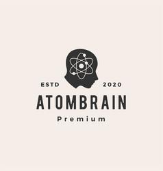 atom brain head hipster vintage logo icon vector image