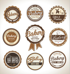 Bakery retro brown badges vector