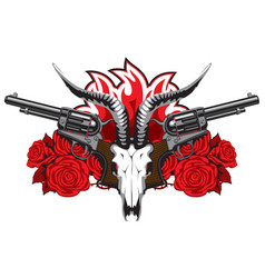 banner with skull goat red roses and pistols vector image