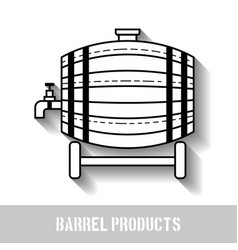 Beer wooden barrel with a tap linear black and vector