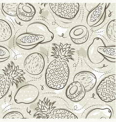 Beige seamless patterns with papaya coconut and vector