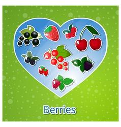 berries heart vector image