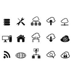 Black cloud network icons set vector