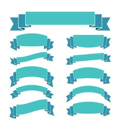 Blue ribbon banners set Beautiful blank decoration vector image