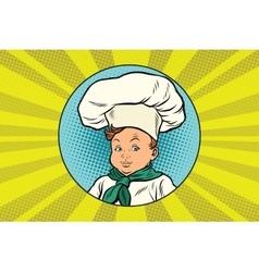 Boy in white chefs hat vector