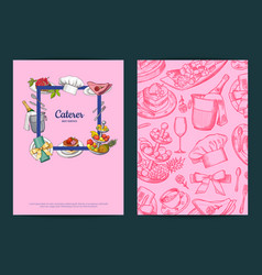 card or flyer templates with hand drawn vector image