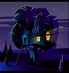 cartoon tree house at night evening vector image