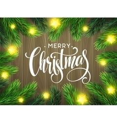 Christmas Tree Branches Border with handwriting vector image