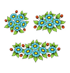 color daisy elements set vector image