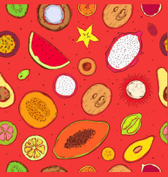 colored doodle exotic fruits seamless pattern vector image