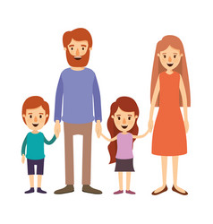 Colorful image caricature family with parents and vector