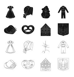 Country germany blackoutline icons in set vector