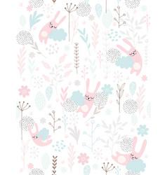 cute hand drawn sleeping little bunnies pattern vector image
