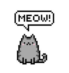 Cute kitten domestic pet pixel saying meow vector