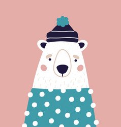 cute polar bear in hat and sweater on pink vector image