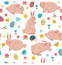 easter bunnies and elements seamless pattern vector image