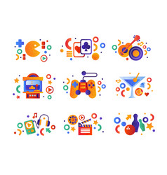 entertainment symbols set playing cards music vector image