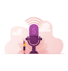 Female character stand at huge microphone vector