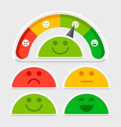 Flat emotions mood scale of set vector