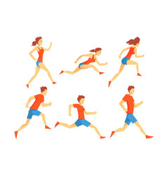 flat set athletes in running action man vector image