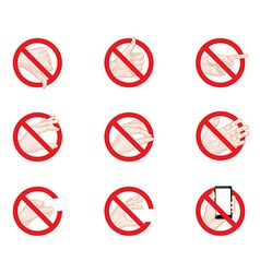 Forbidding Signs business hand gestures icons vector image