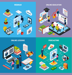 four webinar isometric icon set vector image