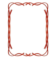 frame red ribbons pattern isolated vector image