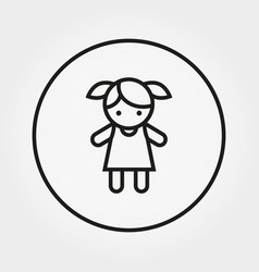 Girl doll toy icon line vector
