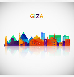 Giza skyline silhouette in colorful geometric vector