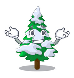Grinning firs with snow on character tree vector