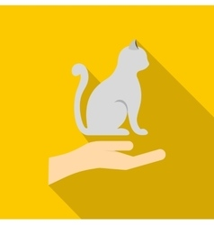 Hand holding a cat icon flat style vector image